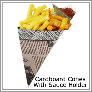Cardboard Cones With Sauce Holder