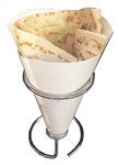 Contemporary Table Top Crepe Holder, Stainless Steel - Fits LARGE SIZE FRENCH CREPE HOLDER (not regular size or Japanese wrappers). This item is designed more for paper cones, but works well with our large size cardboard  crepe holders as well.